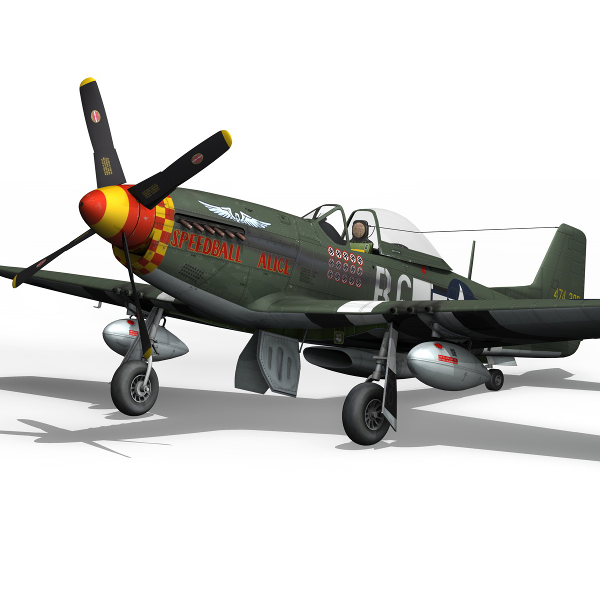 north american p-51d mustang – speedball alice 3d model fbx c4d lwo obj 280319