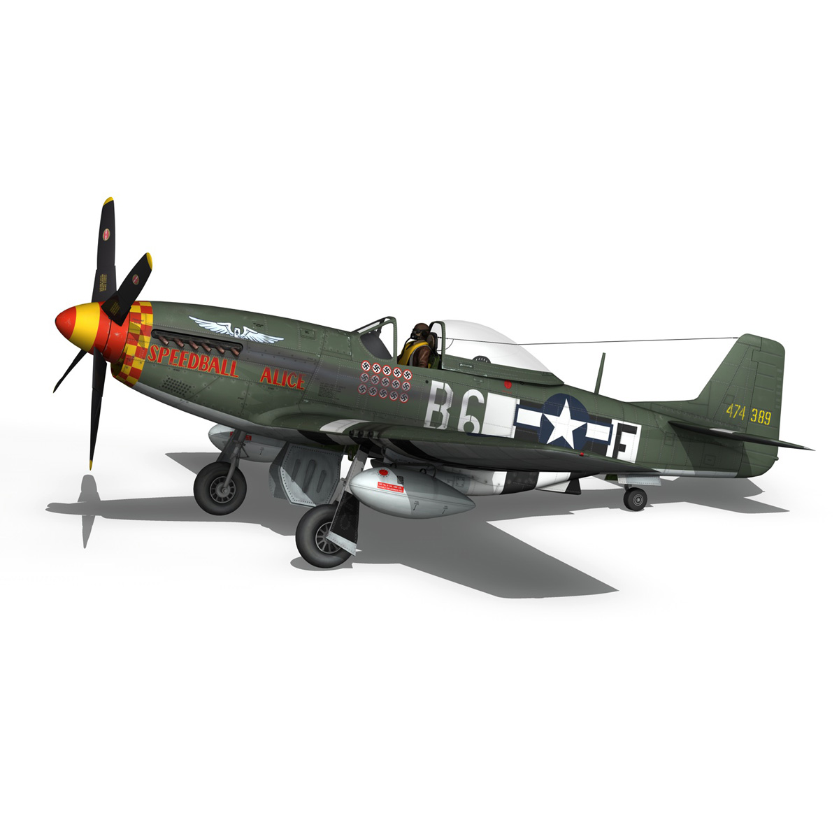 north american p-51d mustang – speedball alice 3d model fbx c4d lwo obj 280320