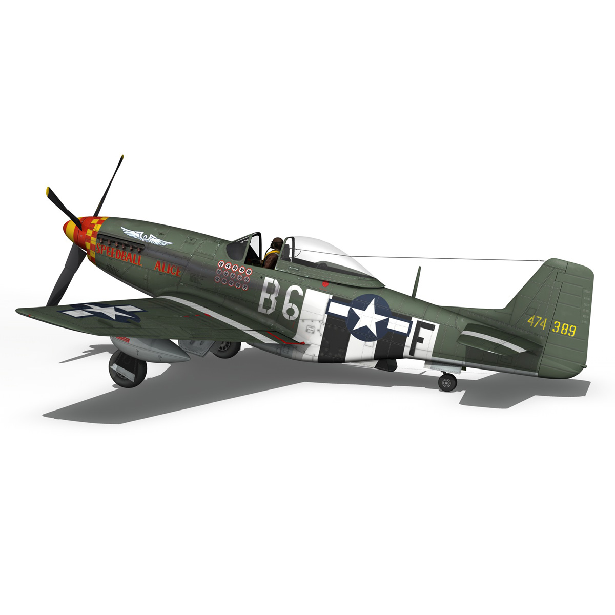 north american p-51d mustang – speedball alice 3d model fbx c4d lwo obj 280321