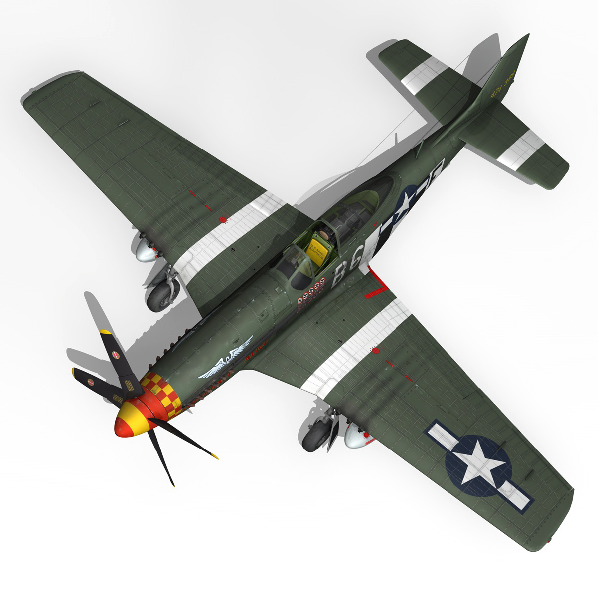 north american p-51d mustang – speedball alice 3d model fbx c4d lwo obj 280324