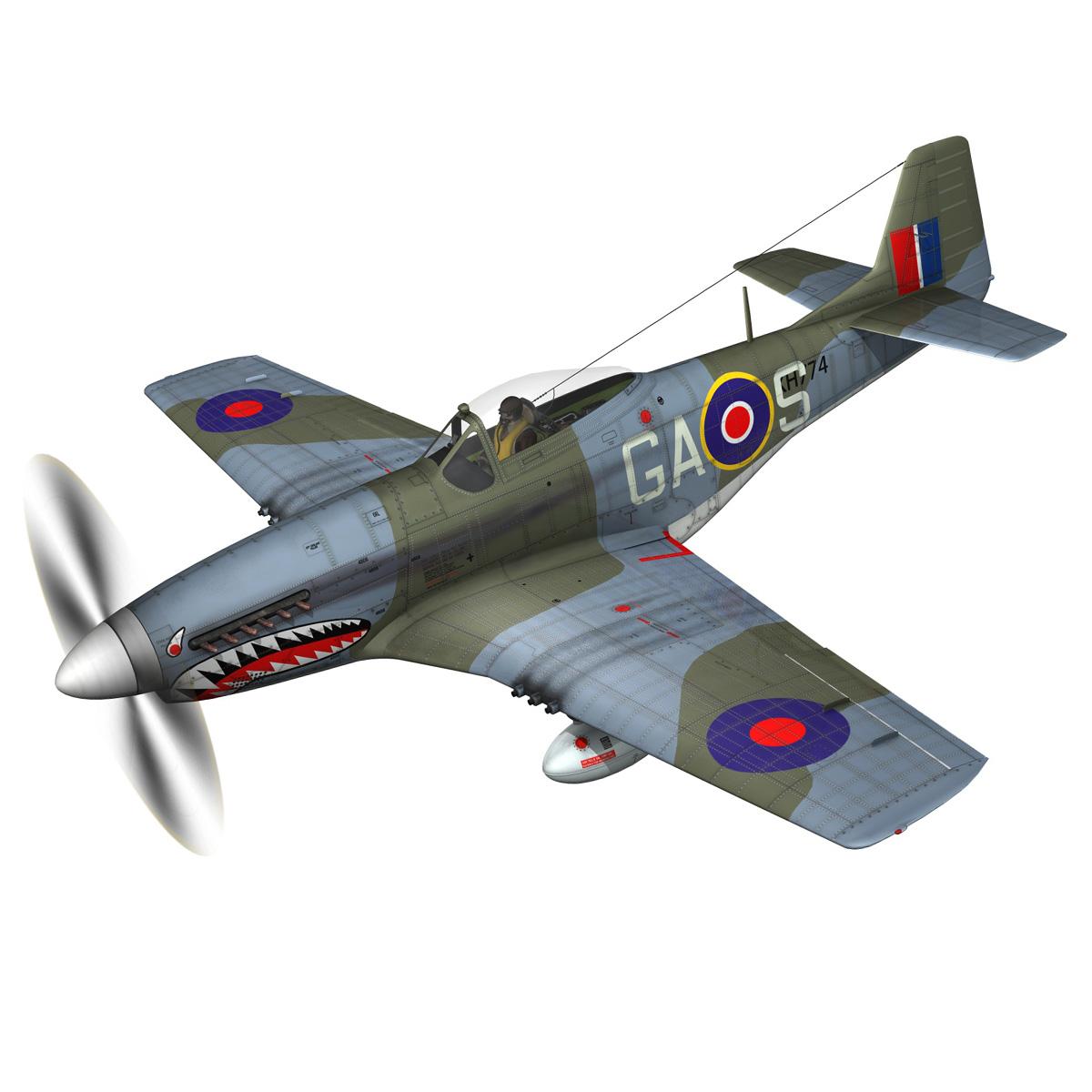 north american p-51k mustang mk.iv – raf 3d model fbx c4d lwo obj 280337