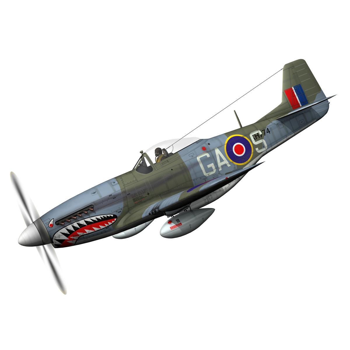 north american p-51k mustang mk.iv – raf 3d model fbx c4d lwo obj 280338