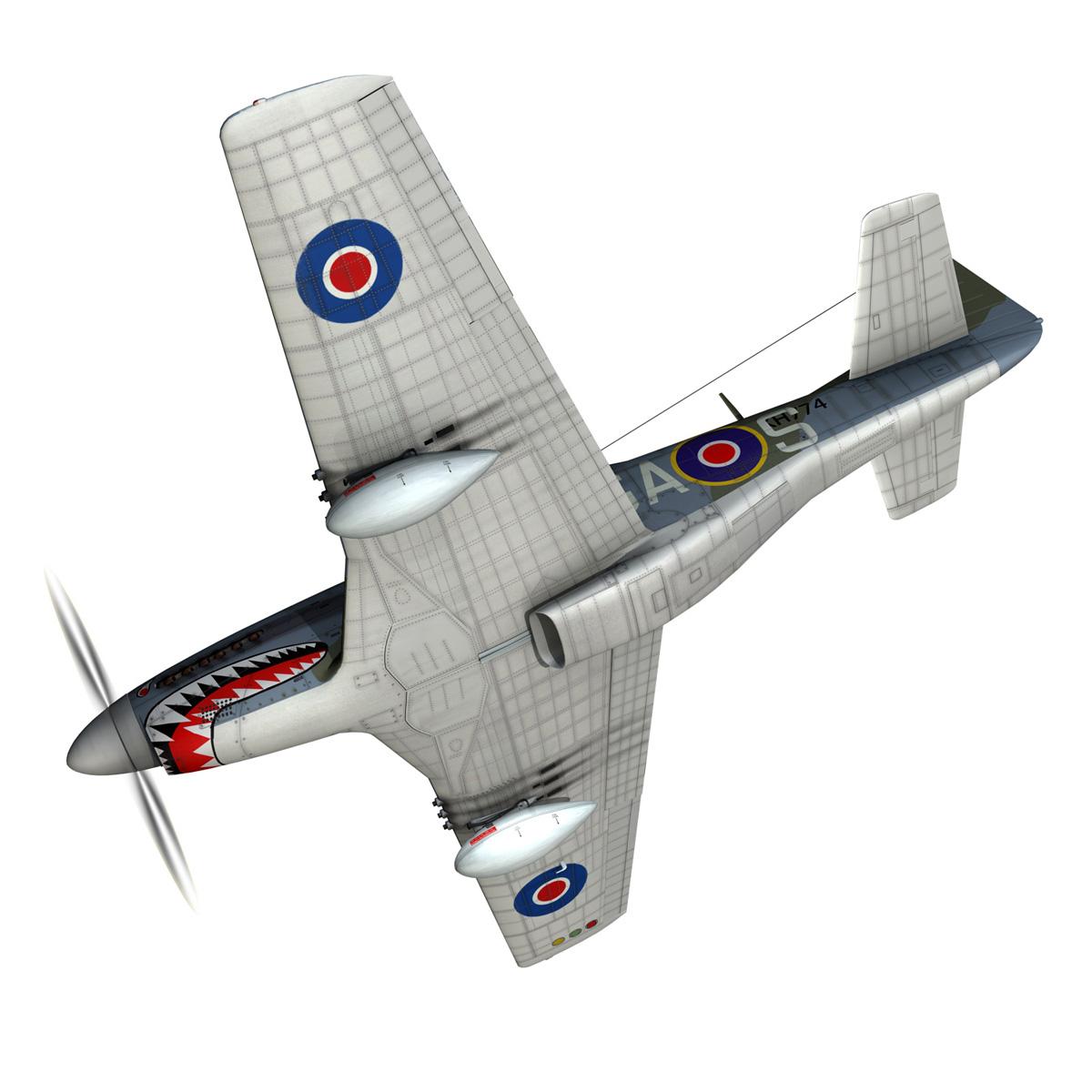 north american p-51k mustang mk.iv – raf 3d model fbx c4d lwo obj 280340