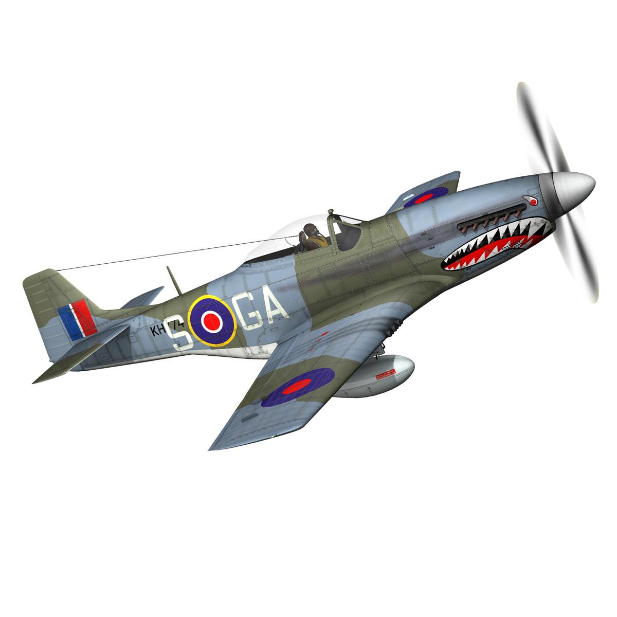 north american p-51k mustang mk.iv – raf 3d model fbx c4d lwo obj 280344
