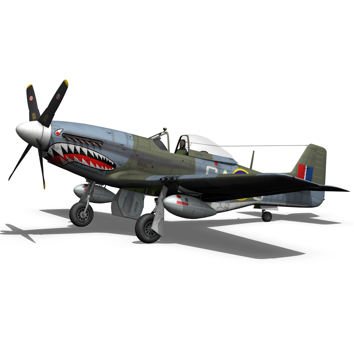 north american p-51k mustang mk.iv – raf 3d model fbx c4d lwo obj 280346