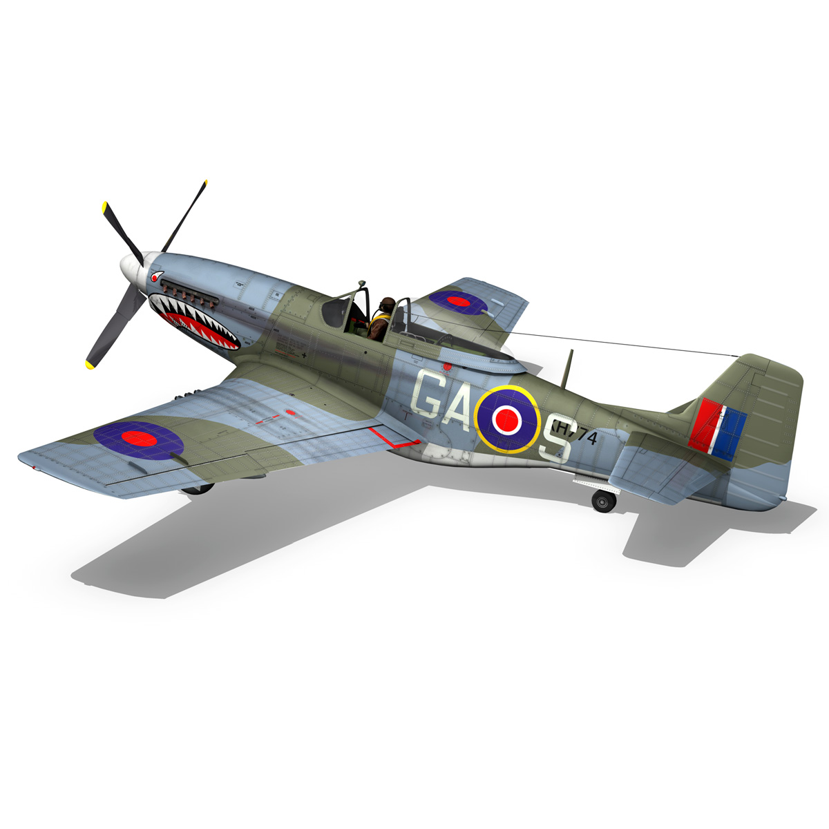 north american p-51k mustang mk.iv – raf 3d model fbx c4d lwo obj 280347