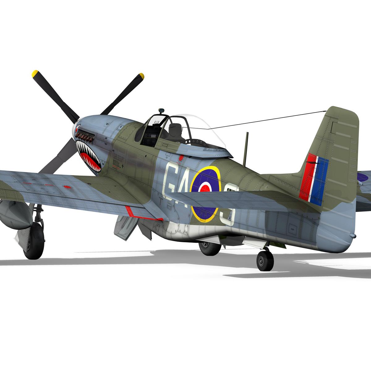 north american p-51k mustang mk.iv – raf 3d model fbx c4d lwo obj 280348