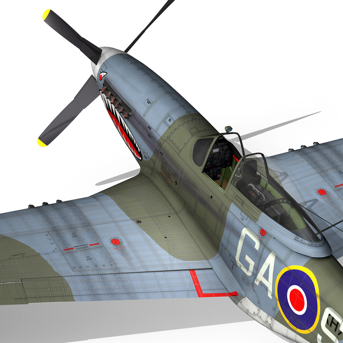north american p-51k mustang mk.iv – raf 3d model fbx c4d lwo obj 280351