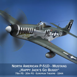 North American P-51 Mustang - Happy Jacks go Buggy 3d model high poly virtual reality fbx c4d lwo lws lw obj
