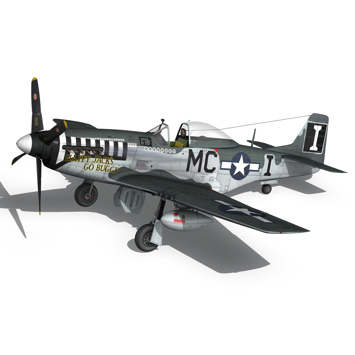 north american p-51 mustang – happy jacks go buggy 3d model fbx c4d lwo obj 280372