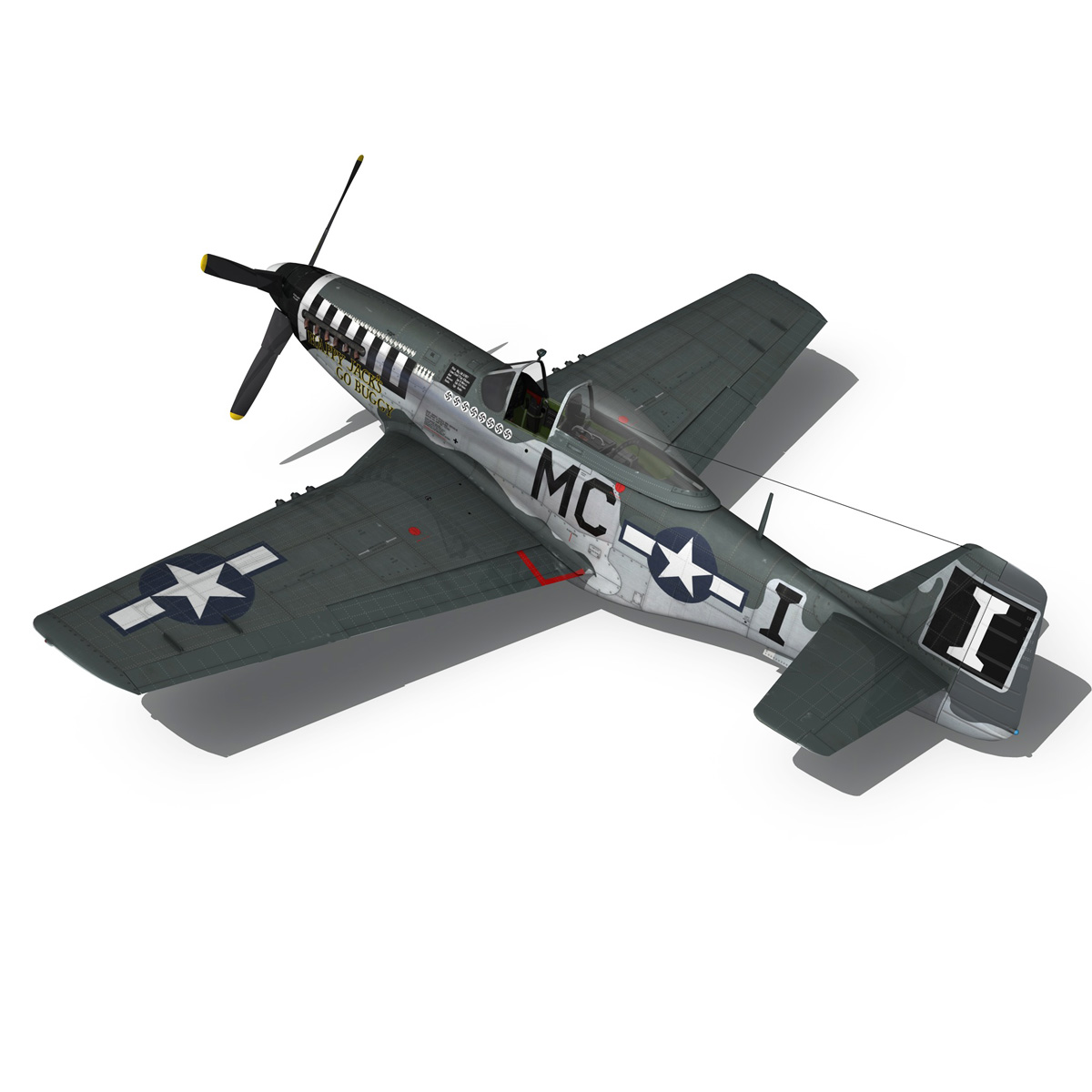 north american p-51 mustang – happy jacks go buggy 3d model fbx c4d lwo obj 280373
