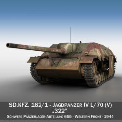 Jagdpanzer IV L/70 (V) - 322 - Late Production 3d model high poly virtual reality 3ds fbx c4d lwo lws lw obj