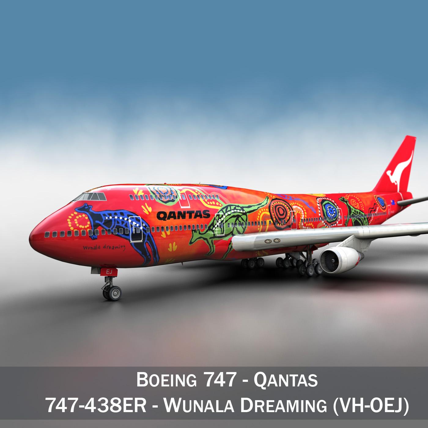 boeing 747 qantas wunala dreaming 3d model 3ds fbx c4d lwo obj 281781