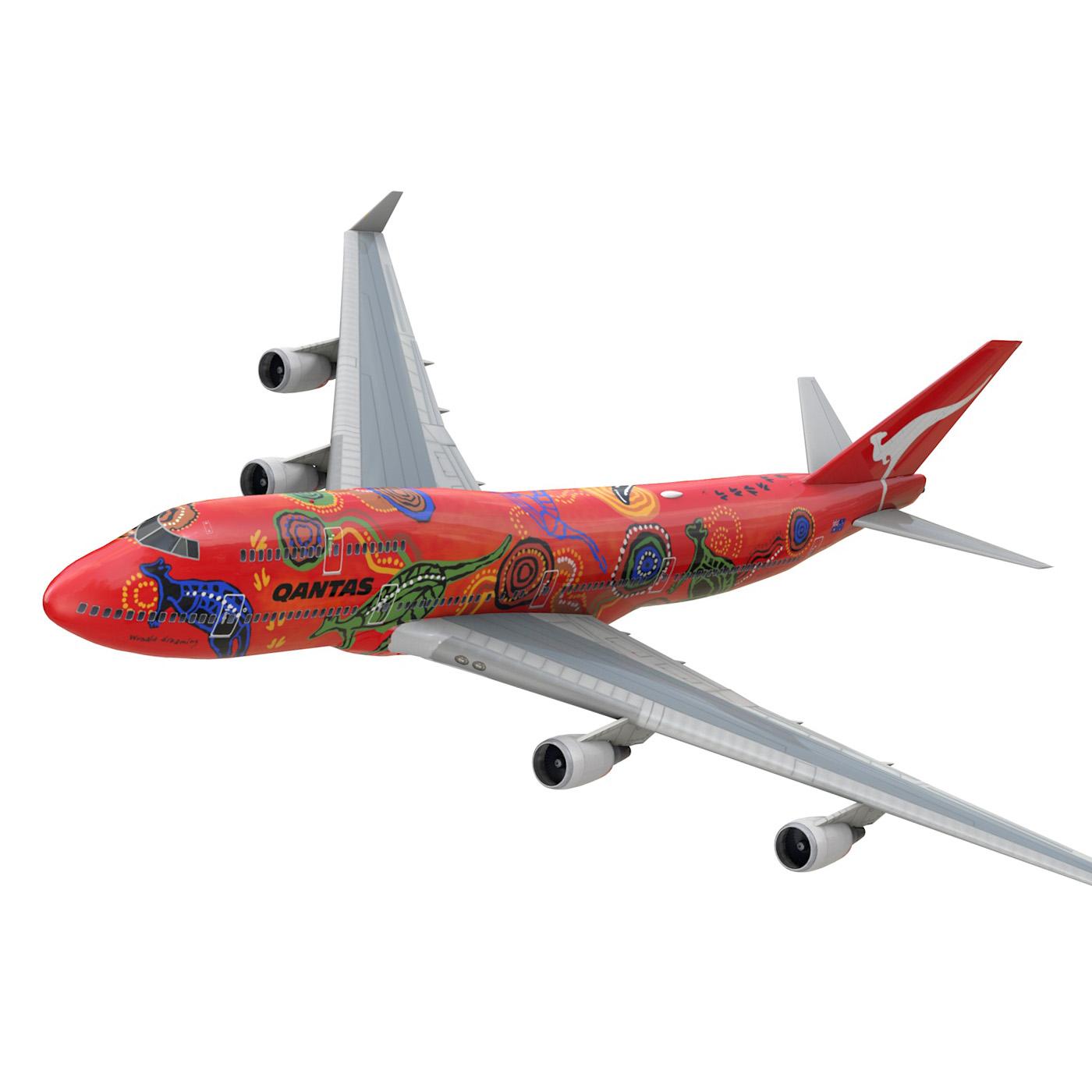boeing 747 qantas wunala dreaming 3d model 3ds fbx c4d lwo obj 281782