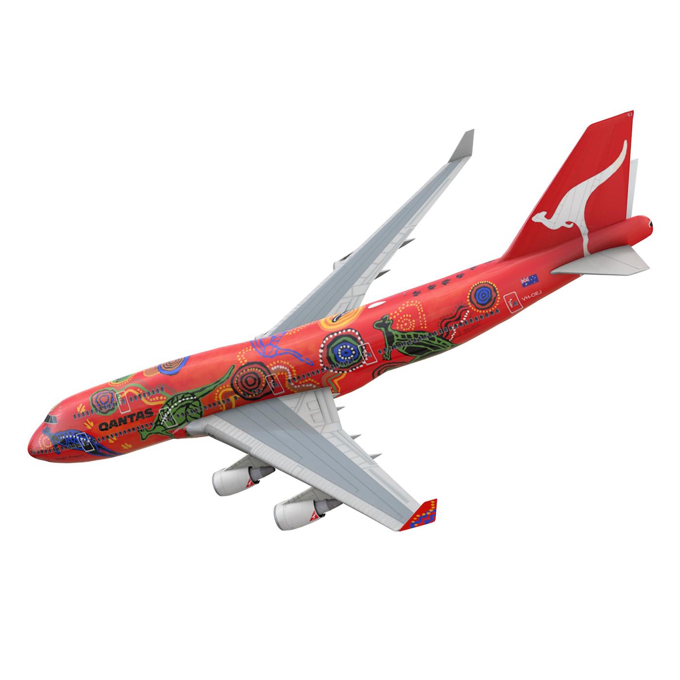 boeing 747 qantas wunala dreaming 3d model 3ds fbx c4d lwo obj 281783