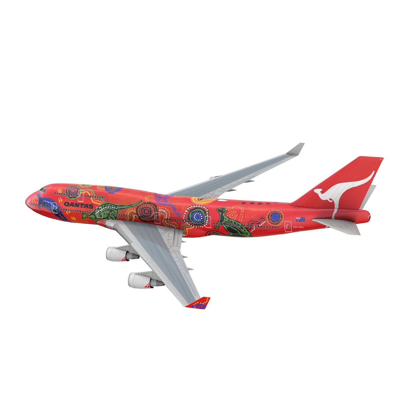 boeing 747 qantas wunala dreaming 3d model 3ds fbx c4d lwo obj 281784