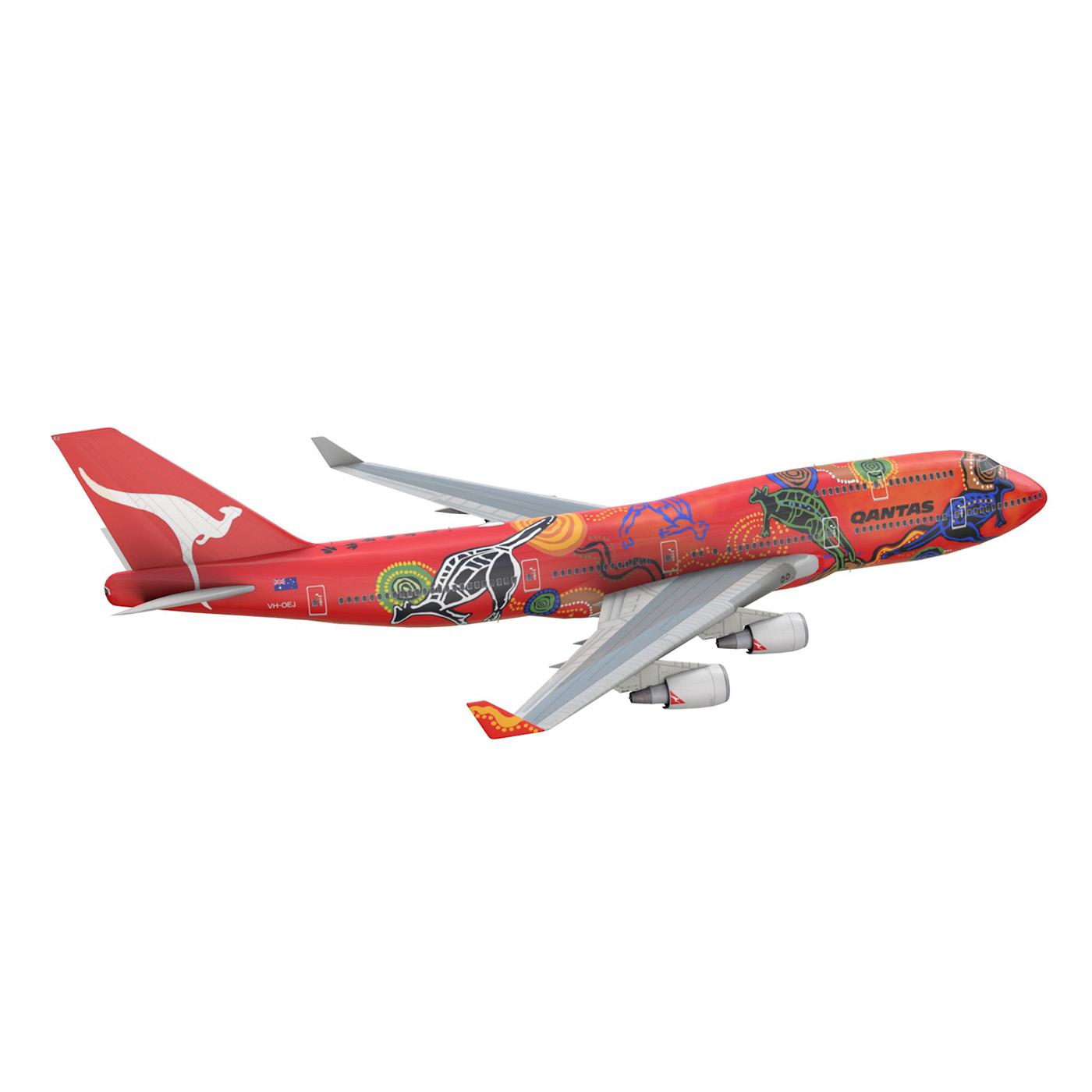 boeing 747 qantas wunala dreaming 3d model 3ds fbx c4d lwo obj 281785