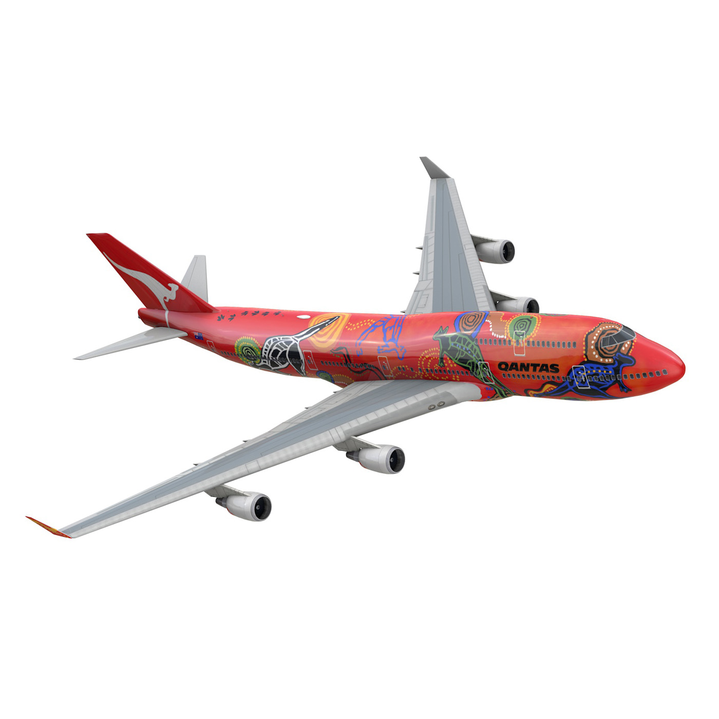 boeing 747 qantas wunala dreaming 3d model 3ds fbx c4d lwo obj 281786