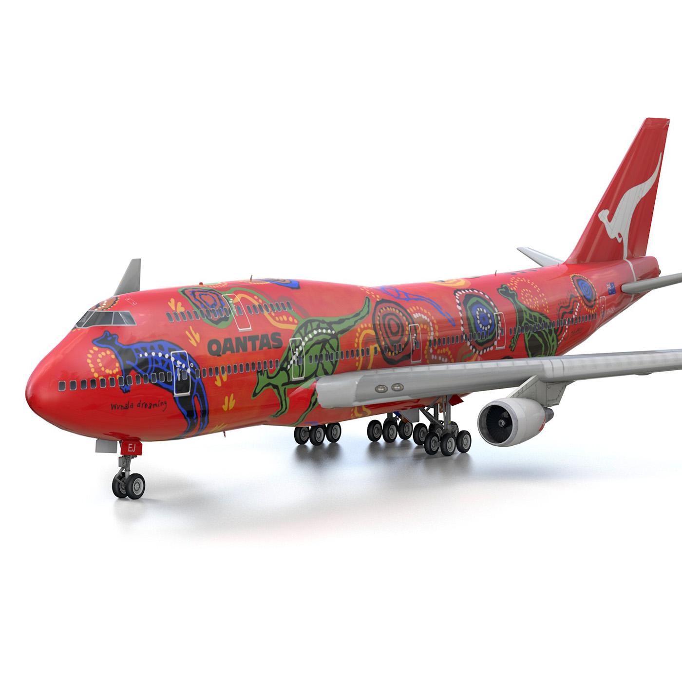 boeing 747 qantas wunala dreaming 3d model 3ds fbx c4d lwo obj 281787