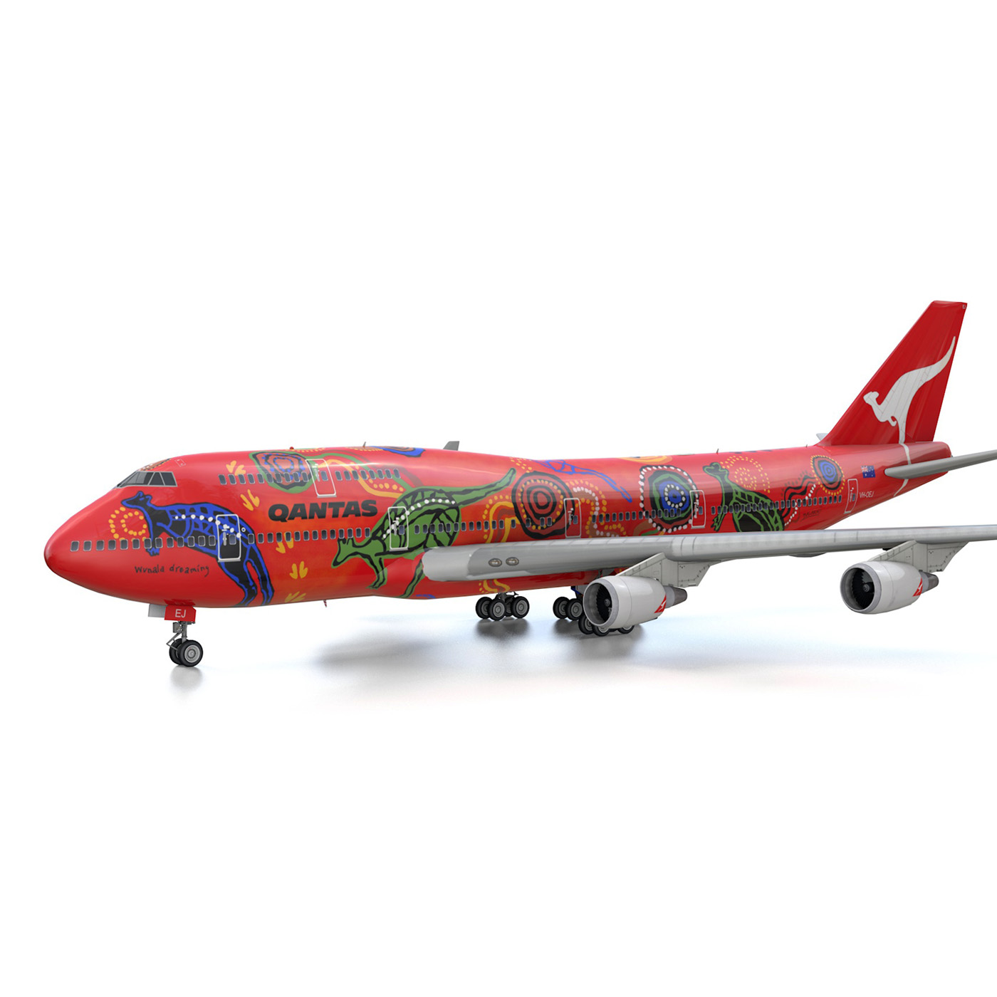 boeing 747 qantas wunala dreaming 3d model 3ds fbx c4d lwo obj 281788