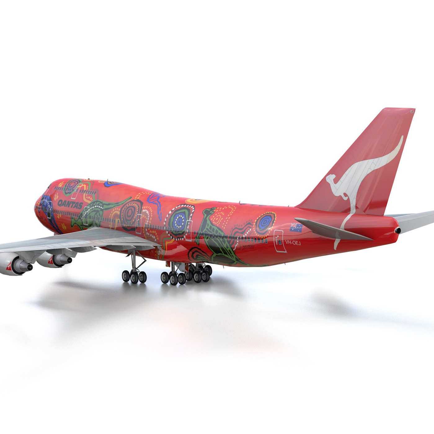 boeing 747 qantas wunala dreaming 3d model 3ds fbx c4d lwo obj 281790