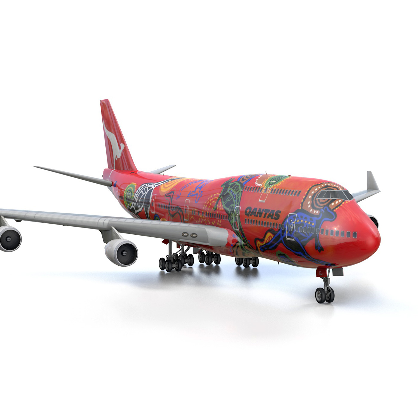 boeing 747 qantas wunala dreaming 3d model 3ds fbx c4d lwo obj 281793