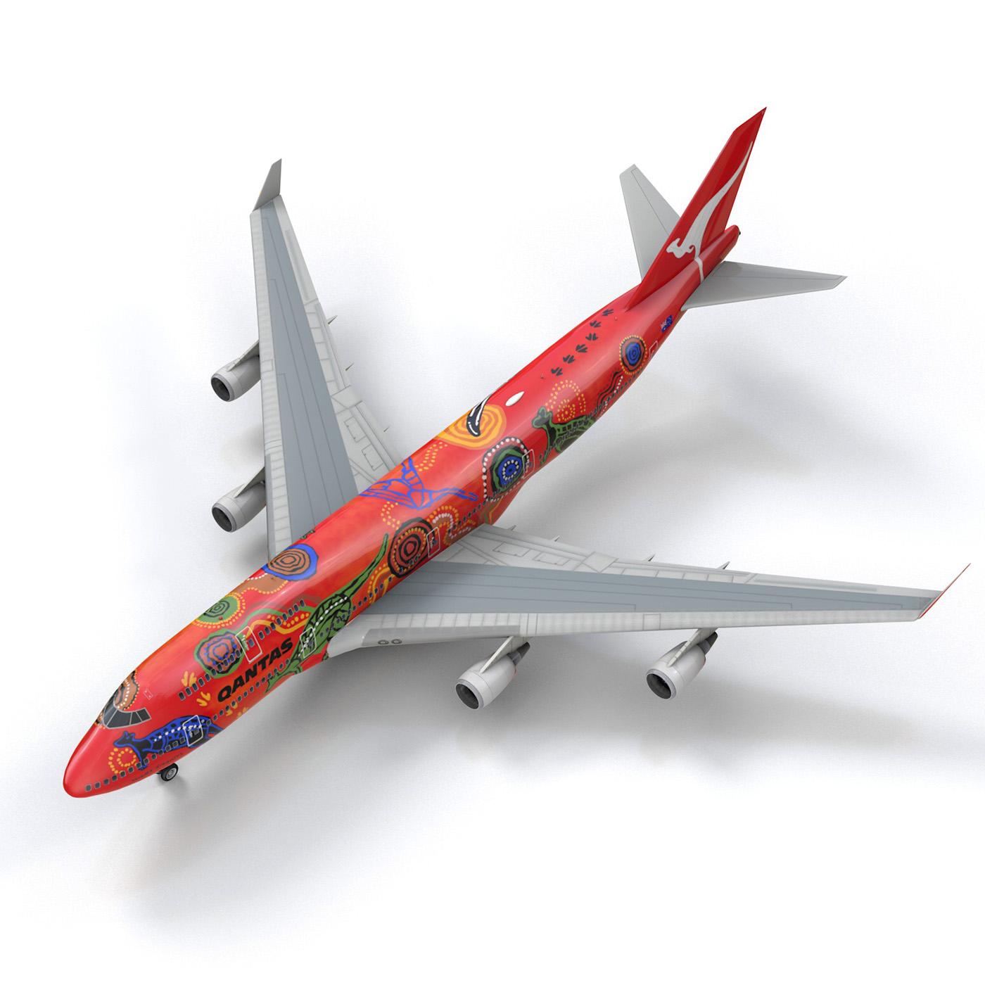 boeing 747 qantas wunala dreaming 3d model 3ds fbx c4d lwo obj 281795
