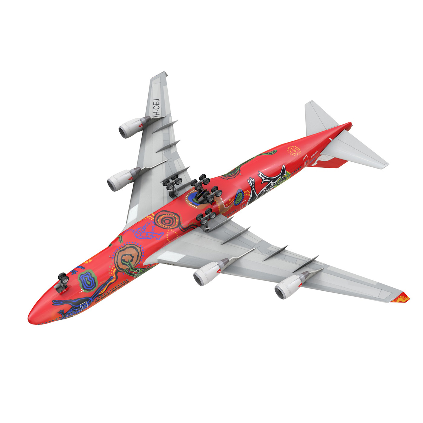 boeing 747 qantas wunala dreaming 3d model 3ds fbx c4d lwo obj 281796