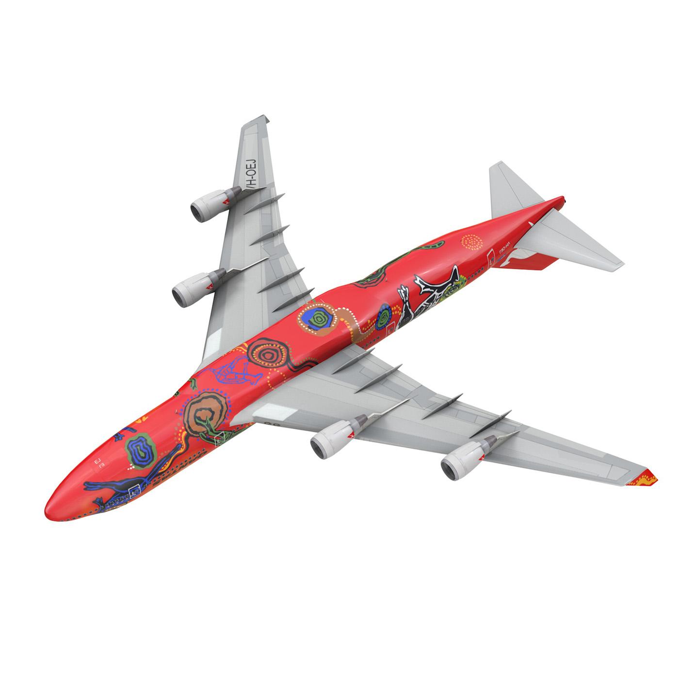 boeing 747 qantas wunala dreaming 3d model 3ds fbx c4d lwo obj 281797