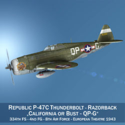 Republic P-47C Thunderbolt - California or Bust 3d model high poly virtual reality 3ds fbx c4d lwo lws lw obj