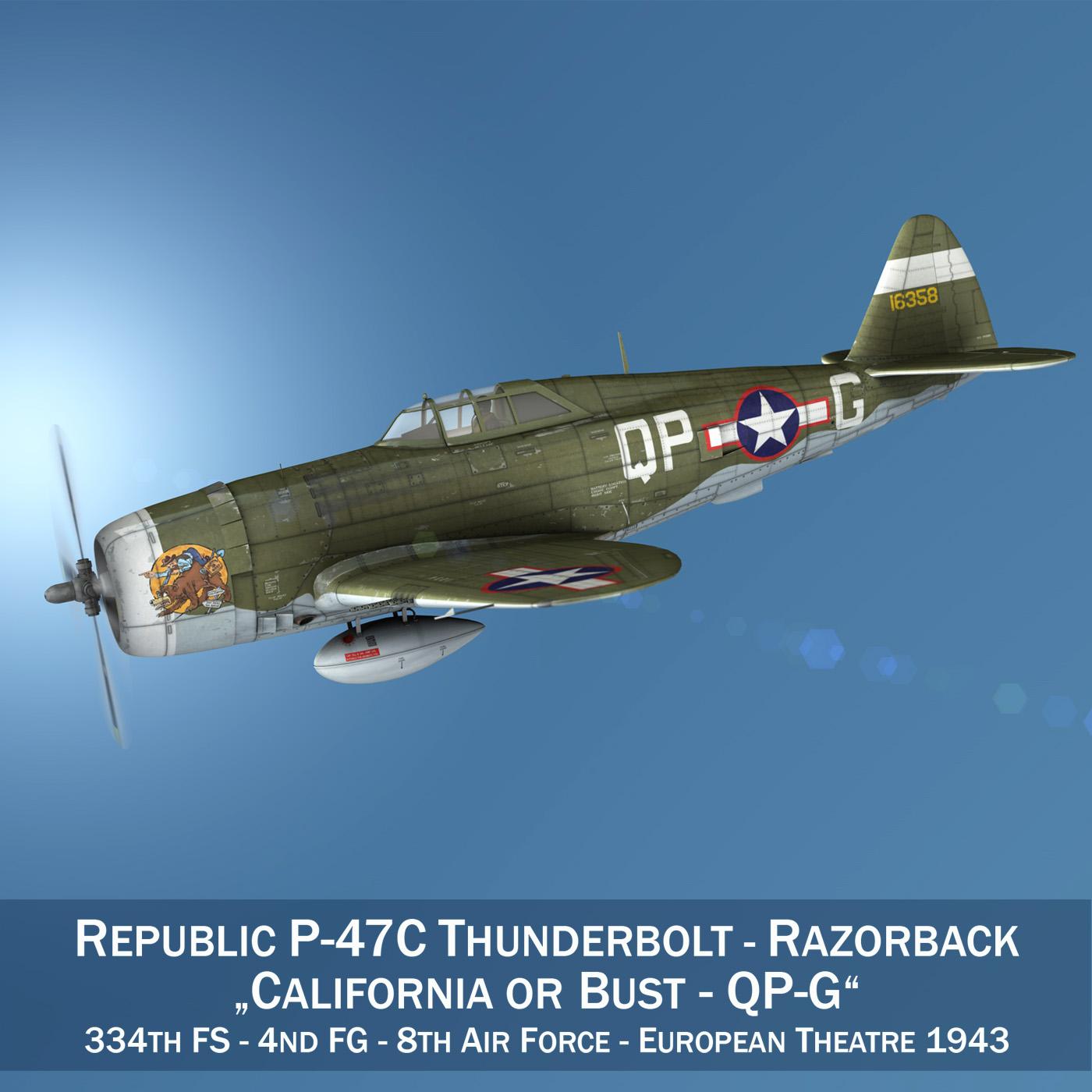 Republic P-47C Thunderbolt - California or Bust 3d model 3ds fbx c4d lwo lws lw obj 281805