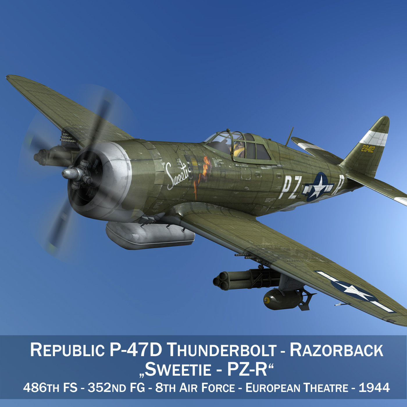 republic p-47d thunderbolt – sweetie – pz-r 3d model 3ds fbx c4d lwo obj 281831