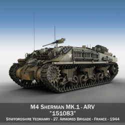 M4 Sherman ARV MK.I - 151083 3d model high poly virtual reality 3ds fbx c4d lwo lws lw obj