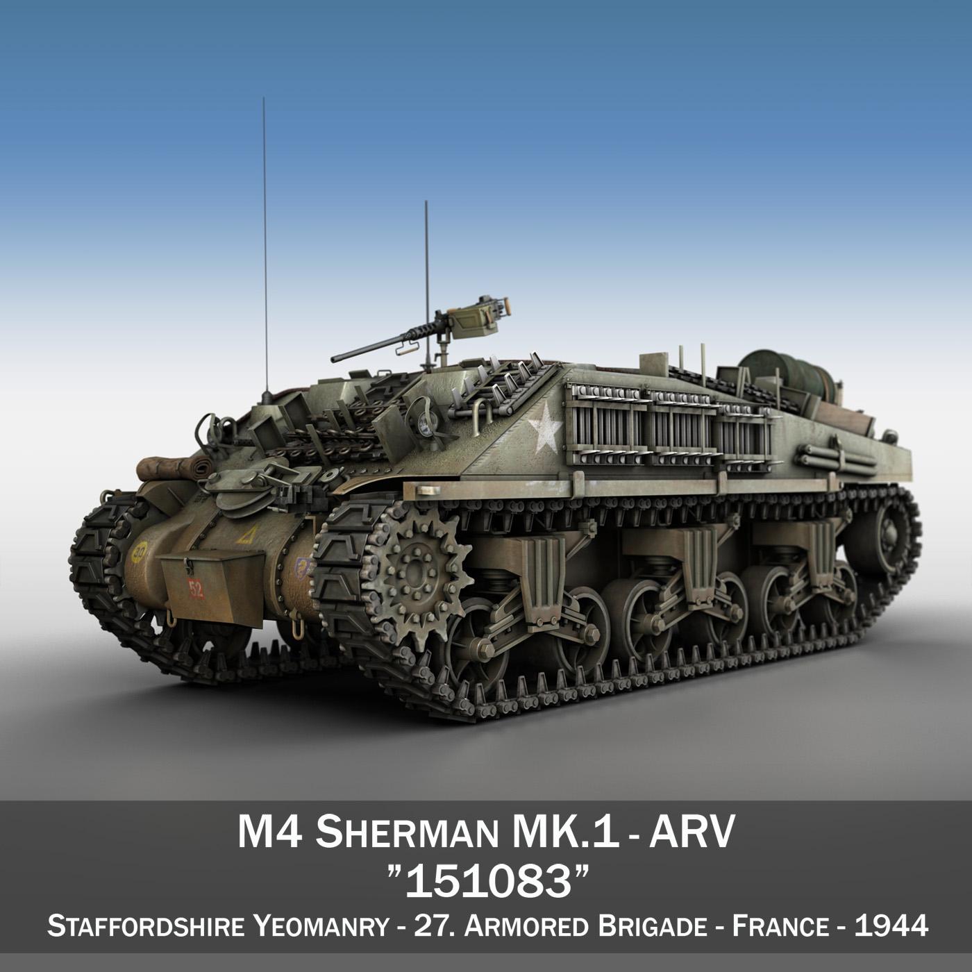 m4 sherman arv mk.i - 151083 3d modell 3ds fbx c4d lwo obj 282116