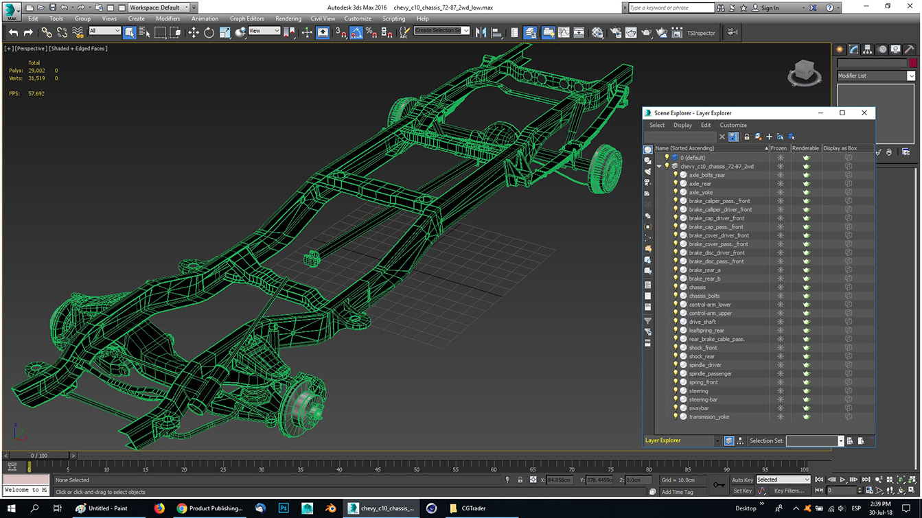 pickup truck chassis 2wd 3d model 3ds max fbx obj 282160