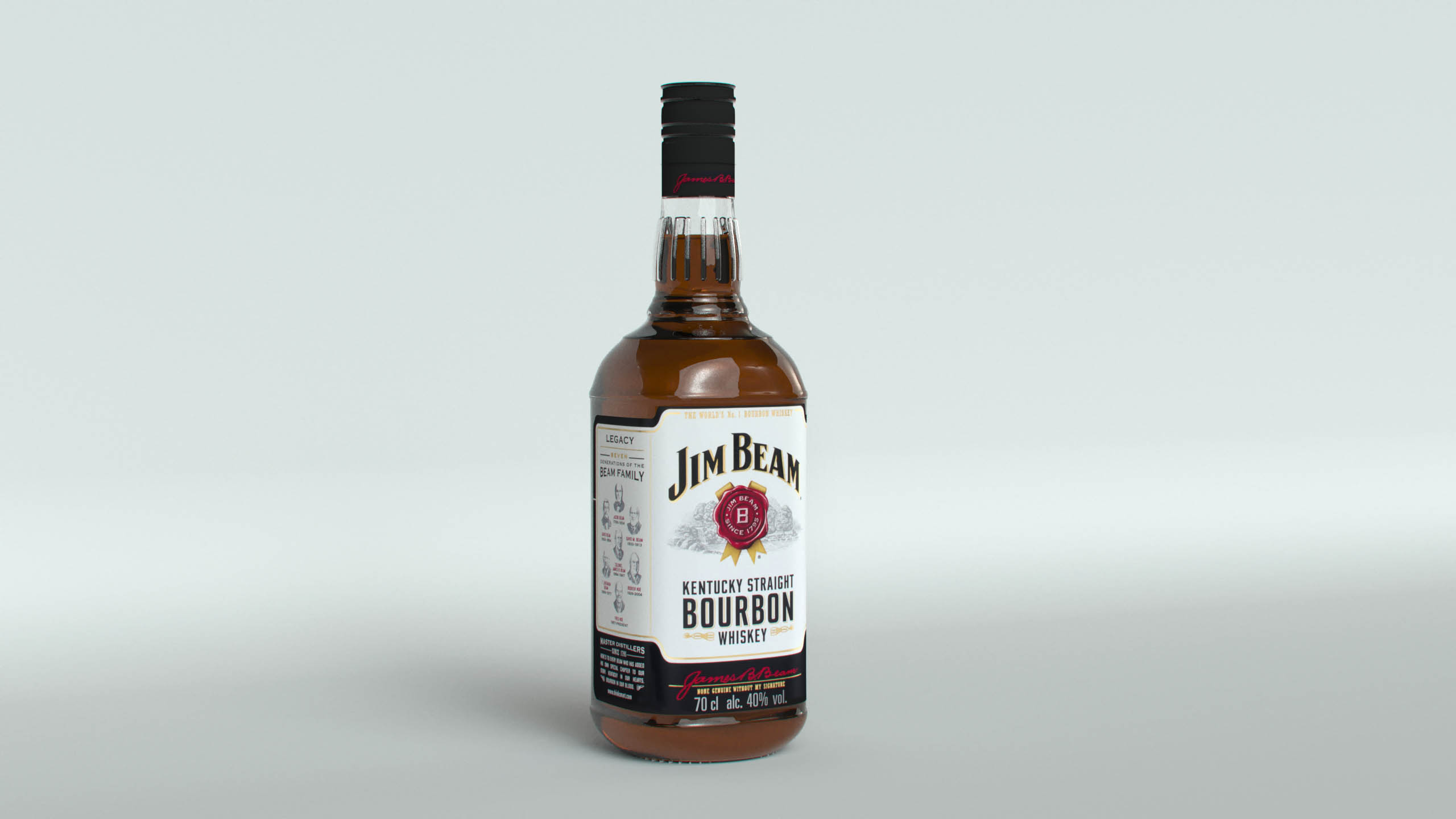 jim beam original bottle na may bagong edisyon label 3d modelo max fbx texture obj 282184