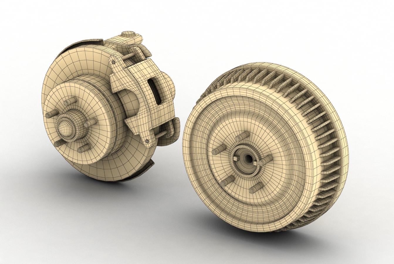 car and truck brake set 3d model 3ds max fbx obj 282208