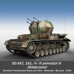 Flakpanzer IV - Wirbelwind - sPzJgAbt 654 3d model high poly virtual reality 3ds fbx c4d lwo lws lw obj