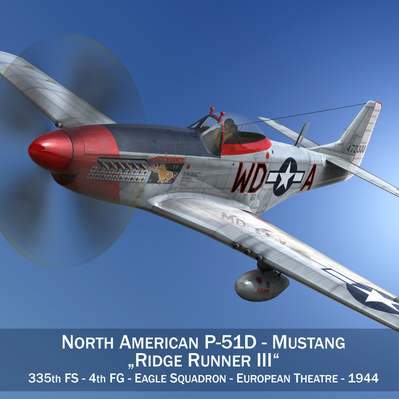 north american p-51d – ridge runner iii 3d model fbx c4d lwo obj 282363