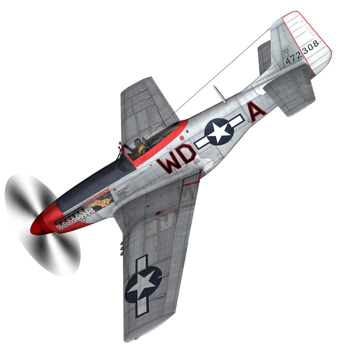 north american p-51d – ridge runner iii 3d model fbx c4d lwo obj 282368