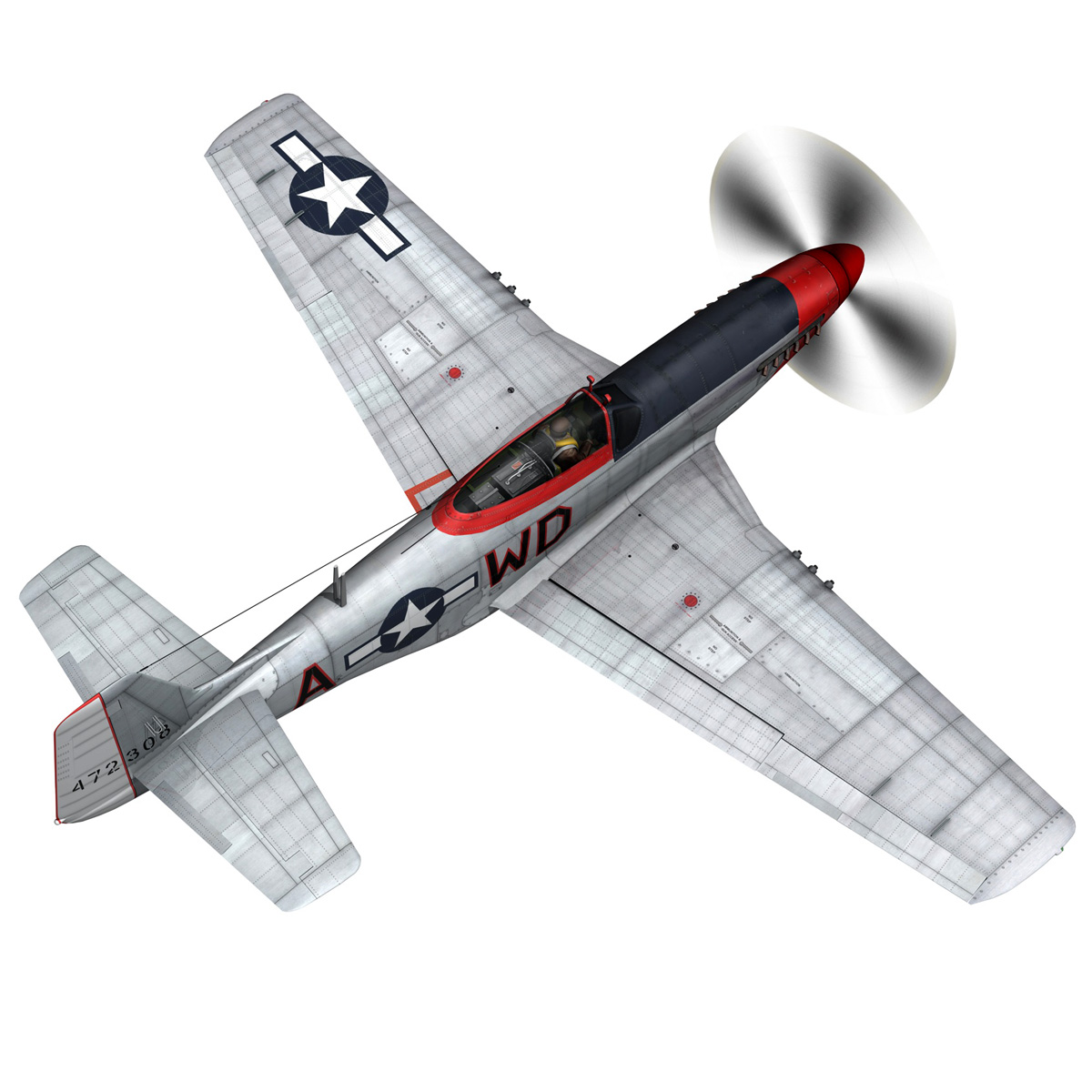 north american p-51d – ridge runner iii 3d model fbx c4d lwo obj 282370