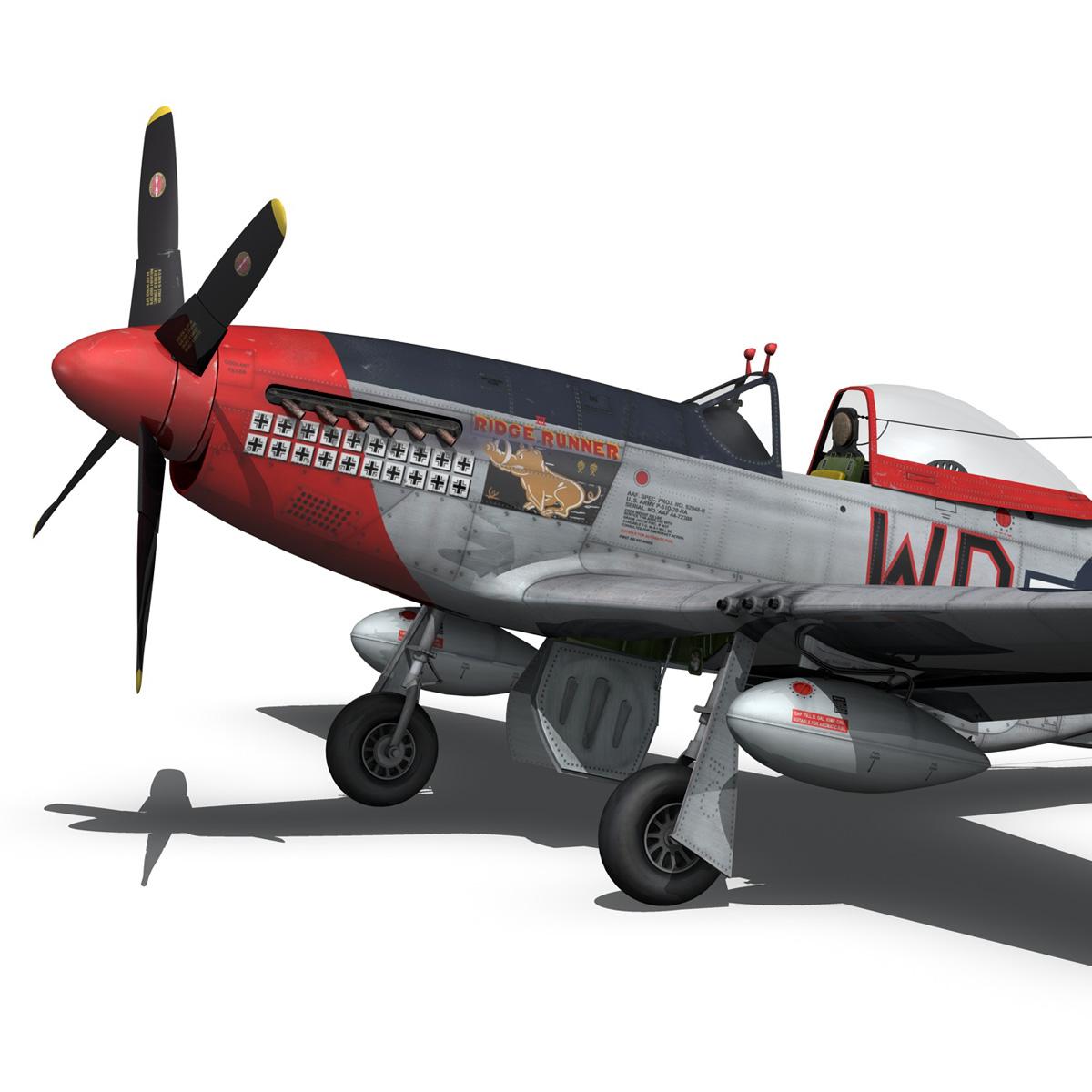 north american p-51d – ridge runner iii 3d model fbx c4d lwo obj 282372