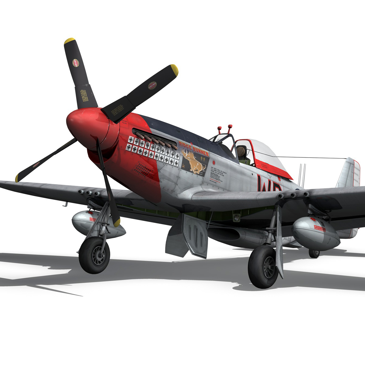 north american p-51d – ridge runner iii 3d model fbx c4d lwo obj 282373