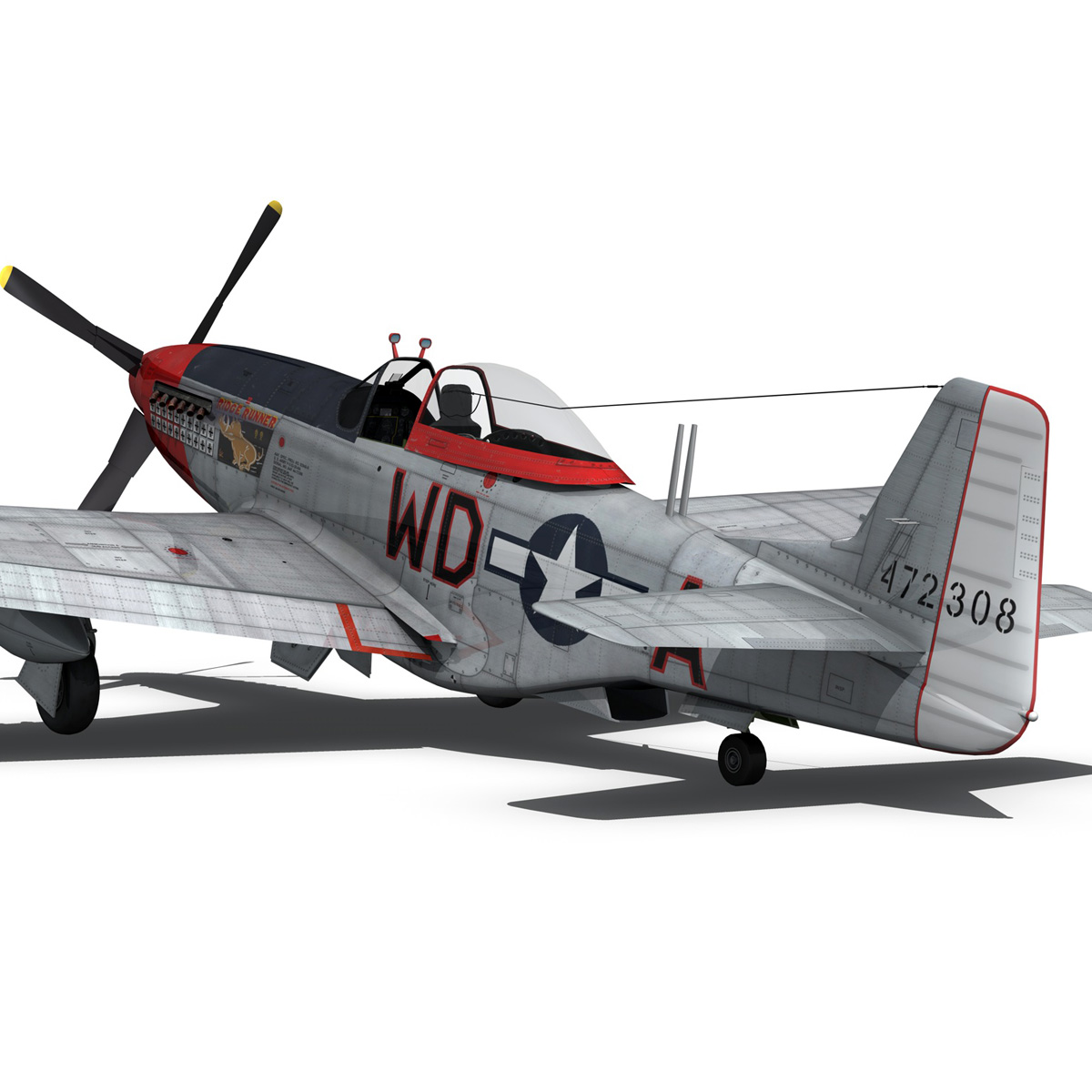 north american p-51d – ridge runner iii 3d model fbx c4d lwo obj 282375