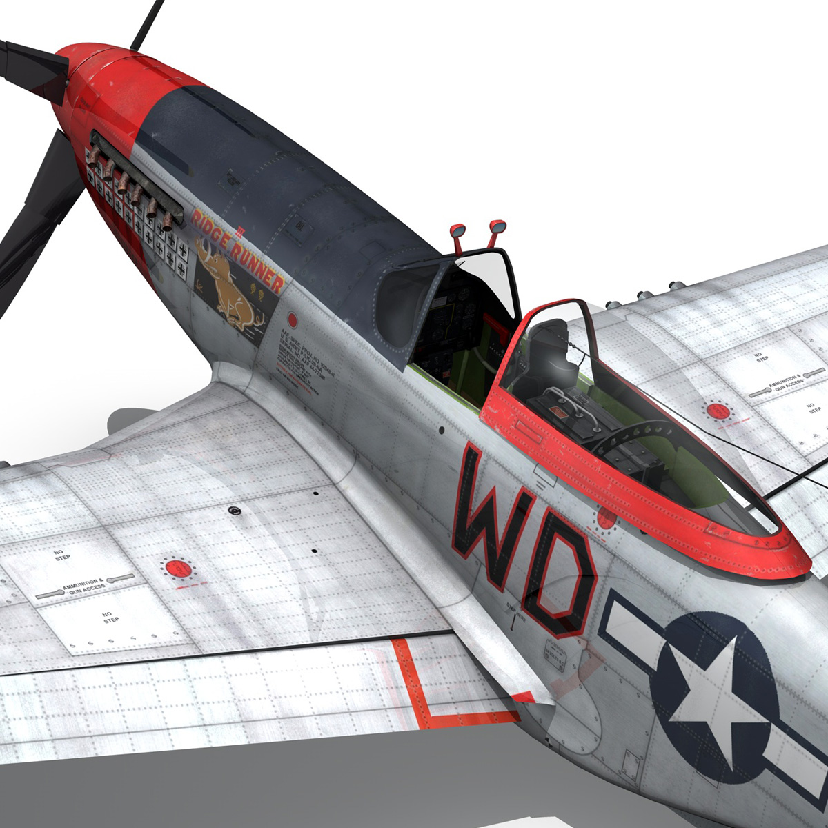 north american p-51d – ridge runner iii 3d model fbx c4d lwo obj 282379