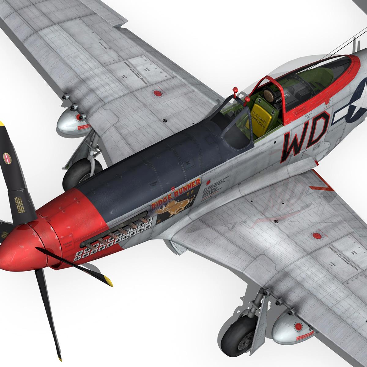 north american p-51d – ridge runner iii 3d model fbx c4d lwo obj 282380