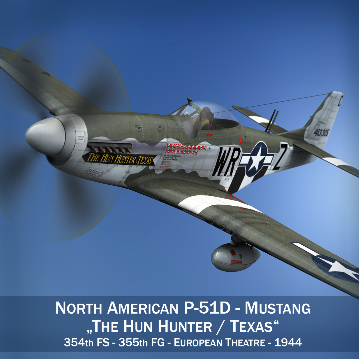 north american p-51d – the hun hunter / texas 3d model fbx c4d lwo obj 282525