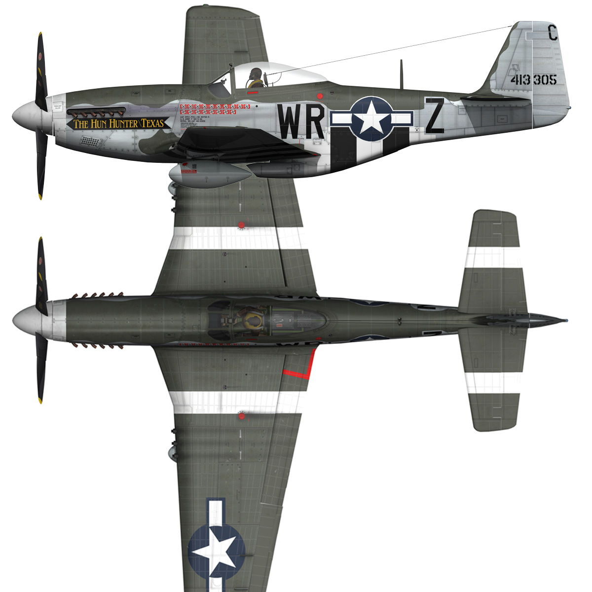 north american p-51d – the hun hunter / texas 3d model fbx c4d lwo obj 282527
