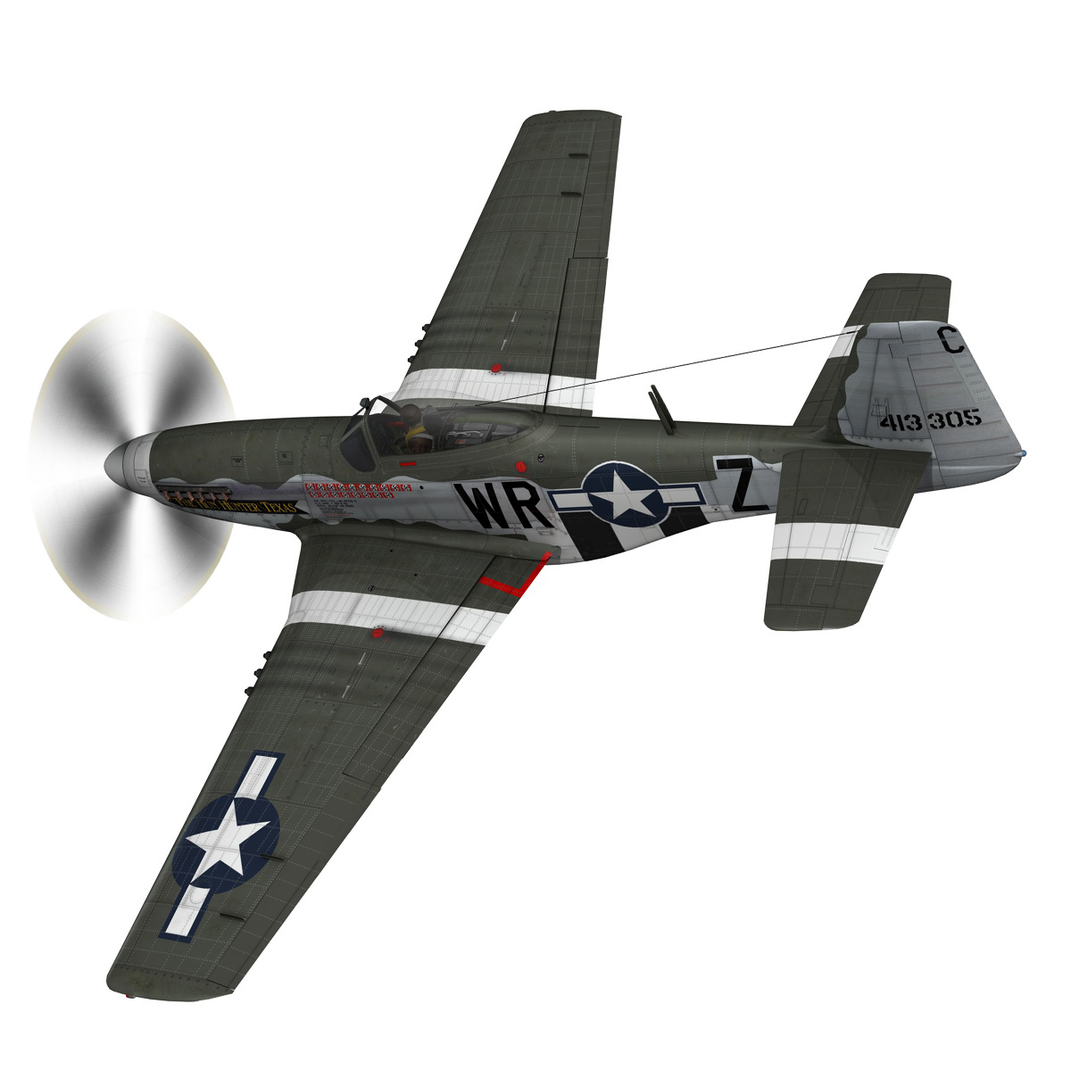 north american p-51d – the hun hunter / texas 3d model fbx c4d lwo obj 282530