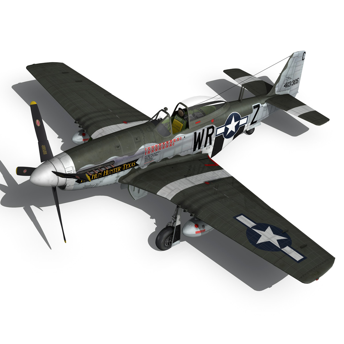 north american p-51d – the hun hunter / texas 3d model fbx c4d lwo obj 282537